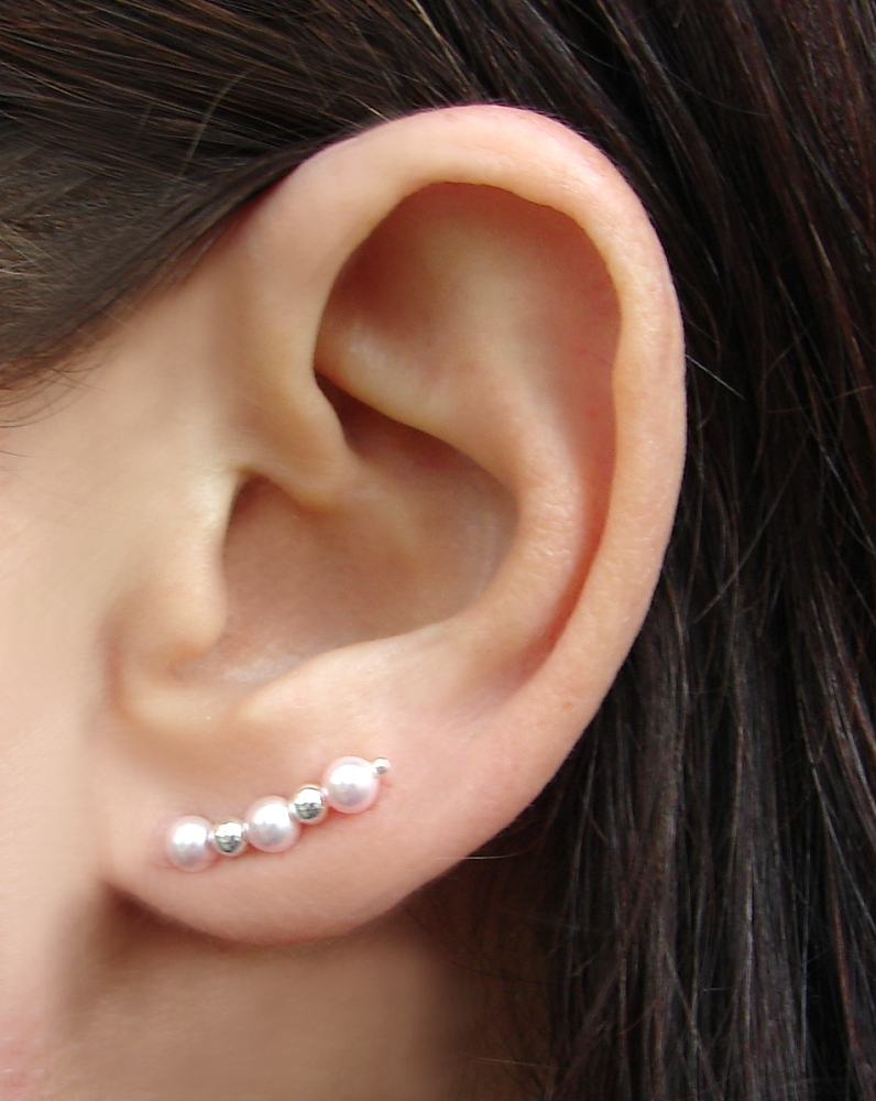 Ear Pins - Sterling Silver Filled Earpins and Pink Swarovski Pearl Earrings - Pair
