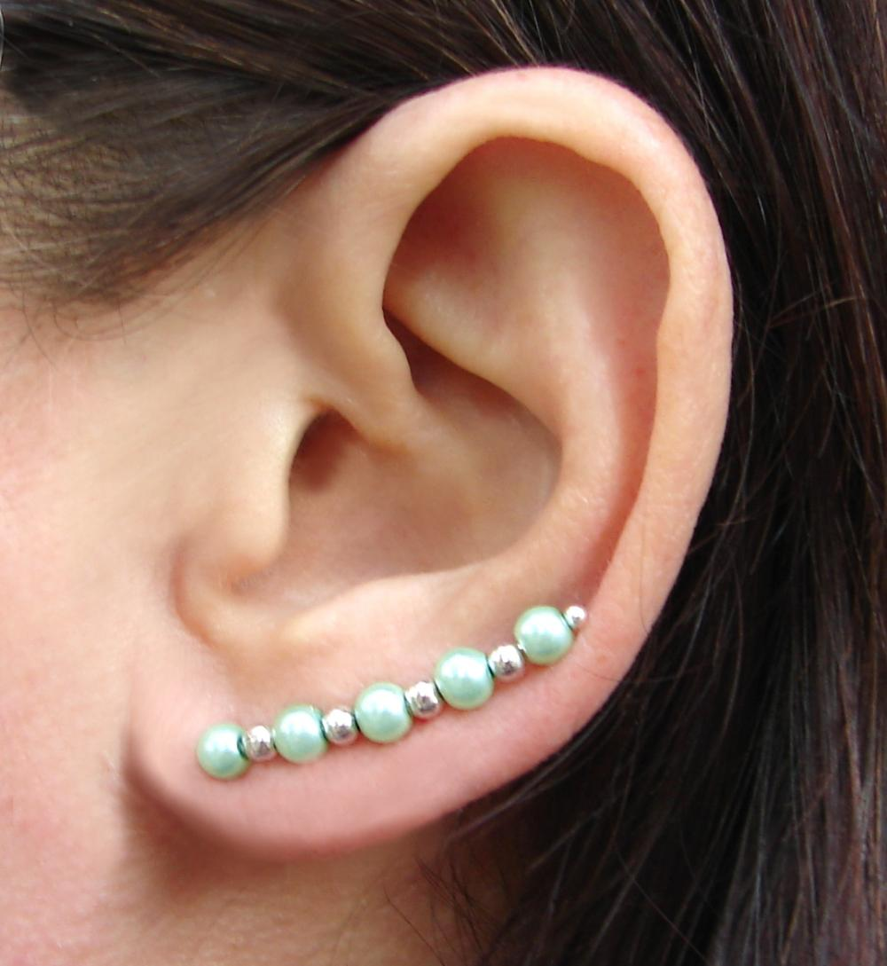 Ear Pins, Seafoam Mint Green Pearls of Glass and Silvery Beads - Pair Earrings, Earpins