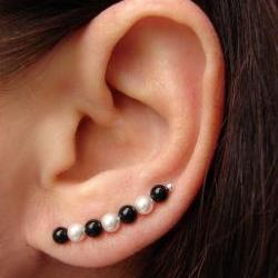 Ear Pins - Black Onyx and Swarovski White Pearls Earrings - Pair