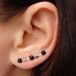 Ear Pins - Black Onyx, Faceted Clear Crystal, Vitriol Crystal Earrings - Pair
