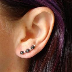 Ear Pins - Sterling Silver Filled and Hematite - Pair - Earrings