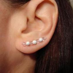Earpins - Faceted Pale Pink Sparkly Crystals with Stardust Beads - Pair Earrings
