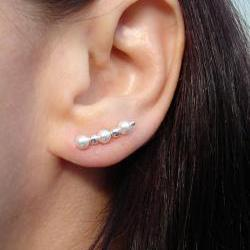 Ear Pins - White Pearls - Swarovski with Sterling Beads and Sterling Filled Pins - Pair
