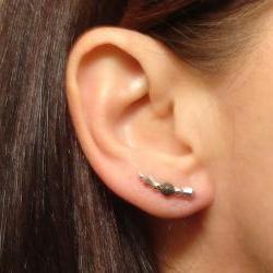 Ear Pins - Sterling Filled Pins, Vitriol Crystal with Gunmetal Stardust Beads - Pair Earrings