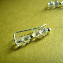 Ear Pins - Sterling Silver Filled and Faceted Polished Clear Crystal - Pair Earrings