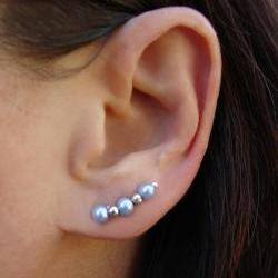 Ear Pins - Baby Blue Glass Pearls and Silver  - Pair Earrings - Earring Pins