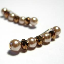 Ear Pins - Faceted Copper Crystals and Champagne Gold Glass Pearls Pair Earrings